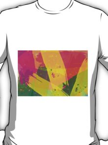 Pink, Yellow and Green Brush Stroke Watercolor Abstract T-Shirt