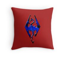 Blue Skyrim Logo Throw Pillow