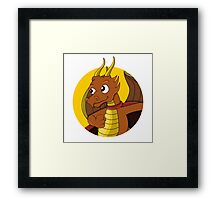 Cute orange dragon superhero cartoon Framed Print