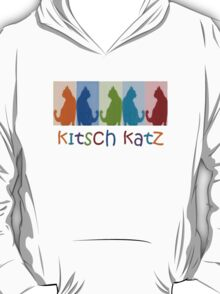 Kitsch Cats Silhouette Cat Collage On Pastel Background T-Shirt