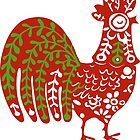 Rooster  animal ethno naive animal art  by SofiaYoushi