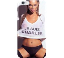 Sexy young woman in wet Je Suis Charlie shirt art photo print iPhone Case/Skin