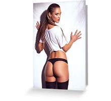 Sexy young woman back in shirt and underwear art photo print Greeting Card