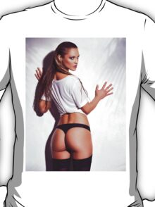 Sexy young woman back in shirt and underwear art photo print T-Shirt