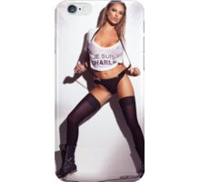 Sexy woman in wet Je Suis Charlie shirt underwear stockings and boots art photo print iPhone Case/Skin