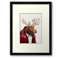 Moose In Maroon Framed Print