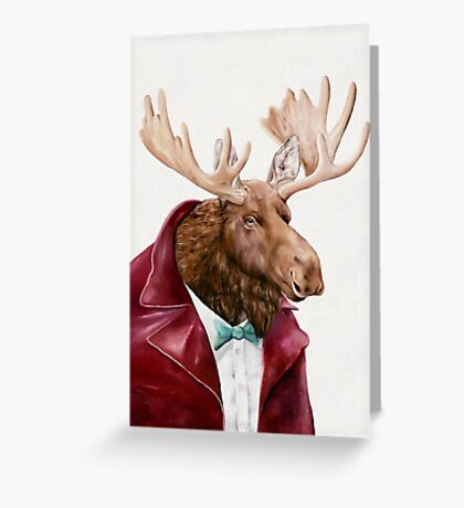 Moose In Maroon Greeting Card