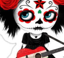 Sugar Skull Girl Playing Hungarian Flag Guitar Sticker