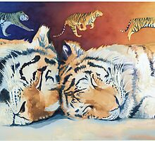 """Cat Nap"" Sleeping Tigers Watercolor  by Paul Jackson"