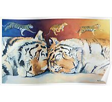 """Cat Nap"" Sleeping Tigers Watercolor  Poster"