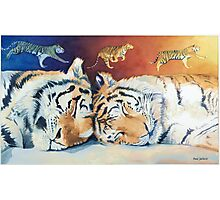 """Cat Nap"" Sleeping Tigers Watercolor  Photographic Print"