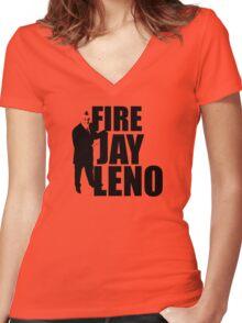 Fire Jay Leno Women's Fitted V-Neck T-Shirt