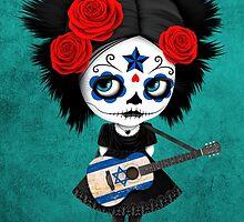 Sugar Skull Girl Playing Israeli Flag Guitar by Jeff Bartels
