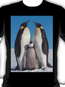 Emperor Penguins and Chick - Snow Hill Island T-Shirt