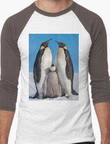 Emperor Penguins and Chick - Snow Hill Island Men's Baseball ¾ T-Shirt