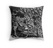 Back Garden Fence With Bike Throw Pillow