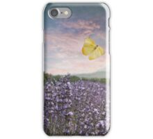 Field of Lavender Flowers, Blue Sky, Pink Sunset, and Yellow Butterfly iPhone Case/Skin