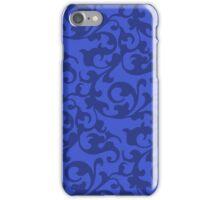 Blue Renaissance Damask Swirls iPhone Case/Skin