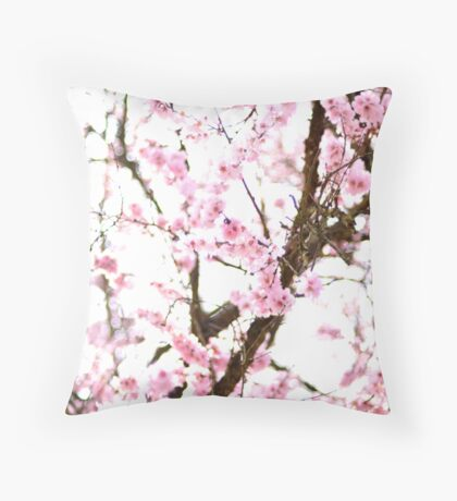 Underneath Pink Blooms Throw Pillow