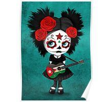 Sugar Skull Girl Playing Jordanian Flag Guitar Poster