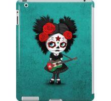Sugar Skull Girl Playing Jordanian Flag Guitar iPad Case/Skin