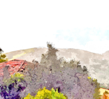 Laureana Cilento: landscape with churc and trees Sticker