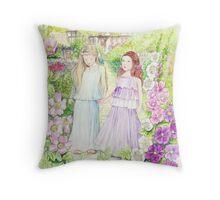 Girls in the Garden Throw Pillow