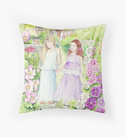 Girls in the Garden Throw Pillow