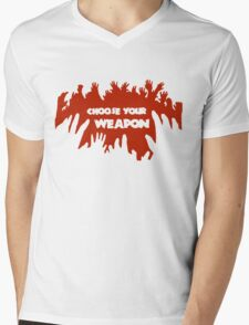 Choose Your Weapon Zombie Shirt Mens V-Neck T-Shirt