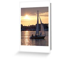 Sailing Home at Sunset Greeting Card