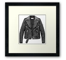 Tough Black Leather Jacket Watercolor - Hipster/Trendy/Fashion Framed Print