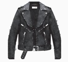 Tough Black Leather Jacket Watercolor by Vrai Chic