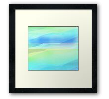 Seascape in Shades of Green, Yellow and Blue Framed Print