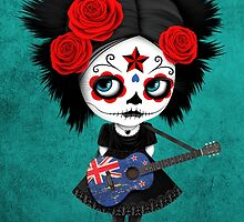 Sugar Skull Girl Playing New Zealand Flag Guitar by Jeff Bartels