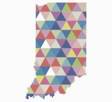 Indiana Colorful Triangles Geometric Hipster USA State Indianapolis Kids Clothes