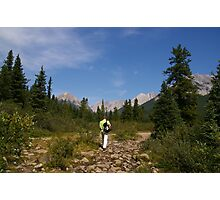 Hiker walking the Ink Pots trail in Banff National Park, Canada Photographic Print