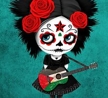 Sugar Skull Girl Playing Palestinian Flag Guitar by Jeff Bartels