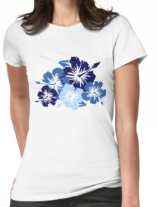 Epic Hibiscus Hawaiian Floral Aloha Shirt Print - Blue Womens Fitted T-Shirt