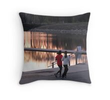 Early Morning Jog Throw Pillow