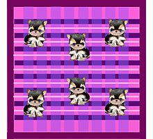 Plaid Puppy Scarf  Photographic Print