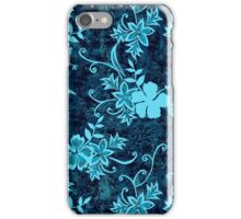 Waimanalo Hawaiian Hibiscus Batik - Teal iPhone Case/Skin