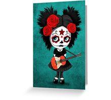 Sugar Skull Girl Playing Peruvian Flag Guitar Greeting Card