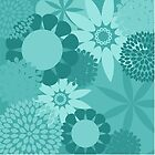 Teal Flowers on Teal Background Products by Vickie Emms