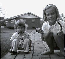 Kay walks her sister Karen; Ladue, MO, ca. 1958 by Bob Gaffney