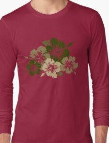 Epic Hibiscus Hawaiian Floral Aloha Shirt Print - Olive Green Long Sleeve T-Shirt