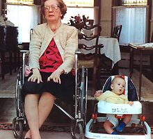 Elizabeth and Brendan on 4 wheels, ca. 1981 by Bob Gaffney