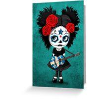 Sugar Skull Girl Playing Quebec Flag Guitar Greeting Card