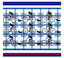 Blue Plaid Bicycle and Puppy   Photographic Print