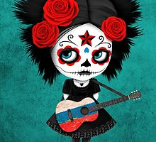 Sugar Skull Girl Playing Russian Flag Guitar by Jeff Bartels