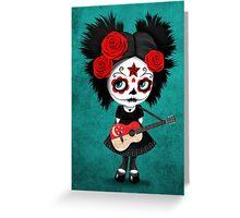 Sugar Skull Girl Playing Singapore Flag Guitar Greeting Card